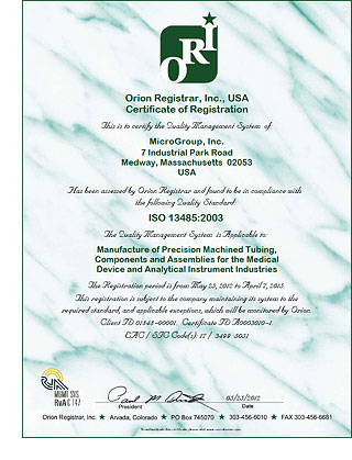 MicroGroup Receives ISO 13485:2003 Certification • MicroGroup